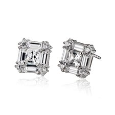 Cubic Zirconia Square Baguette Earrings