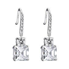 Square Cubic Zirconia Drop Earrings