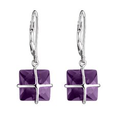 Cubic Zirconia Sterling Silver Euro Wire Earrings