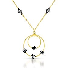 Round Cubic Zirconia Plated Drop Necklace