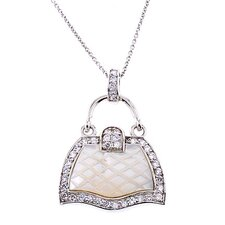 Mother Of Pearl Cubic Zirconia Diamond Silver Handbag Pendant