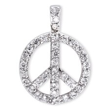 Sterling Silver Pave Cubic Zirconia Diamond Peace Sign Pendant