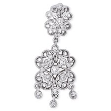 Lacy Four-Petal Flower Design Cubic Zirconia Diamond Pendant