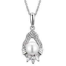 Cubic Zirconia and Pearl Pendant