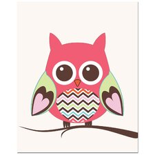 Zig Zag Belly Owl on Tree Canvas Art