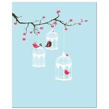 Tree Blossom Bird Cage Canvas Art