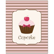 Sweet Cupcake Art Print in Light Pink and Chocolate