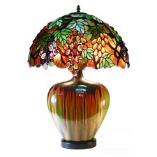 <strong>Warehouse of Tiffany</strong> Grape Table Lamp with Ceramic Base