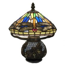 "Dragonfly Style 10"" H Table Lamp with Bowl Shade"