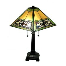 "Mission 23"" H Table Lamp with Stained Glass Shade"