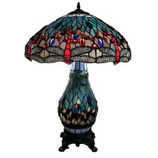 <strong>Warehouse of Tiffany</strong> Dragonfly Table Lamp with Lighted Base