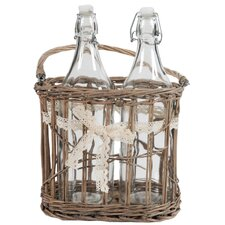 2 Bottles in Basket with Ribbon (Set of 2)