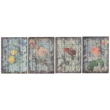 4 Piece Graphic Art Plaque Set