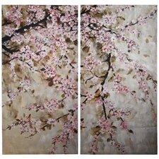 2 Piece Cherry Blossom Painting Print on Canvas Set