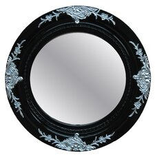 Devin Round Framed Mirror in Glossy Black