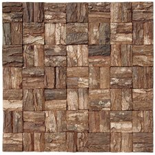 Square Style Wooden Bark Textured Mosaic in Brown