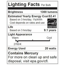 20W 120-Volt (2700K) Fluorescent Light Bulb
