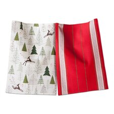 Woodland 2 Piece Prancing Reindeer Dishtowel Set
