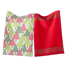 Whimsy 2 Piece Dot Trees Dishtowel Set