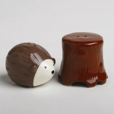 Foxy Fall Hedgehog and Tree Salt and Pepper Shaker