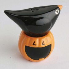 Spooky Party Raven and Pumpkin Salt and Pepper Shaker