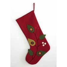 Birds and Berries Felt Stocking