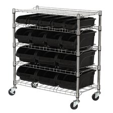 Mobile Bin Shelf with Bins