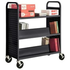 Mobile Book Truck with 1 Flat Bottom Shelf and 4 Sloped Top Shelves