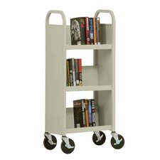 "17"" W Single Sided Sloped-Shelf Mobile Book Truck in Putty"