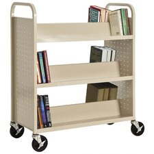 Double Sided Sloped-Shelf Mobile Book Truck