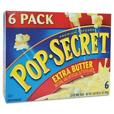 Pop Secret Microwave Popcorn, Extra Butter, 6 Bags/Box