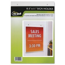 "Clear Plastic Sign Holder, Wall Mount, 8.5"" Wide"