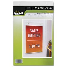 "Clear Plastic Sign Holder, Wall Mount, 11"" Wide"