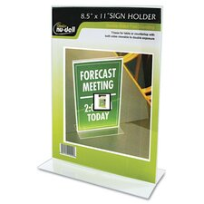 "Clear Plastic Sign Holder, Stand-Up, 8.5"" Wide"