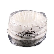 Coffee Pro Basket Filters For Drip Coffeemakers, 200 Filters/Pack