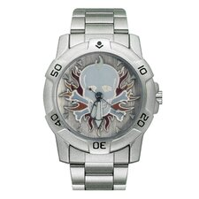 Chrome Biker Watch with Skull and Flames Emboss