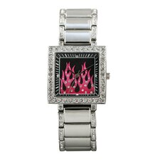 Highway Honey Women's Watch with Pink Flames Emboss