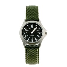 Classic 24 Hour Rugged Military Field Watch with Green Nylon Strap