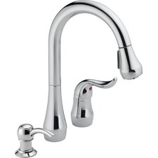 Single Handle Widespread Pull Down Kitchen Faucet with Soap Dispenser