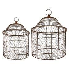 2 Piece Basket Birdcage Set