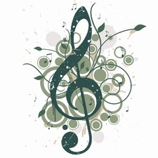 Treble Clef Graphic Art on Canvas