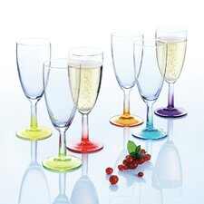 Crazy Colours 6 Piece Sparkling Champagne Flute Set