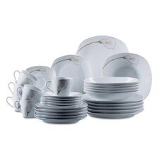 Calla 30 Piece Porcelain Dinnerware Set in Uni White