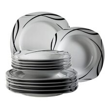 Oslo 12 Piece Porcelain Dinnerware Set in Black and White