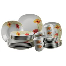 Papavero 30 Piece Porcelain Dinnerware Set in Uni White