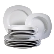 Villa 12 Piece Porcelain Dinnerware Set in Uni White
