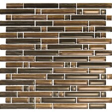 Brushstrokes Marrone Random Sized Mosaic in Brown Multi