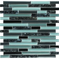 "Spectrum Blue Pearl 12"" x 12"" Random Stone and Glass Blend Mosaic in Multi"
