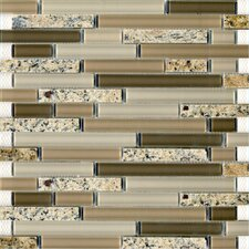 "Spectrum Desert Gold 12"" x 12"" Random Stone and Glass Blend Mosaic in Beige Multi"