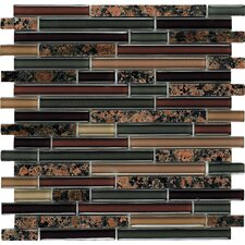 "Spectrum English Brown 12"" x 12"" Random Stone and Glass Blend Mosaic in Brown Multi"